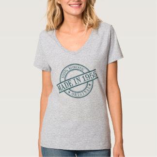 Made in 1955 Round Stamp Logo Women's Grey V-neck T-Shirt
