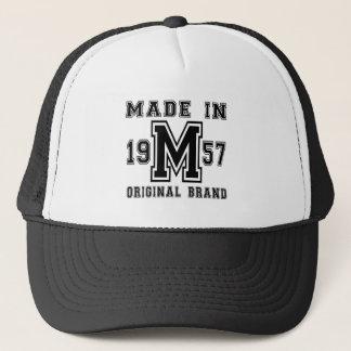 MADE IN 1957 ORIGINAL BRAND BIRTHDAY DESIGNS TRUCKER HAT
