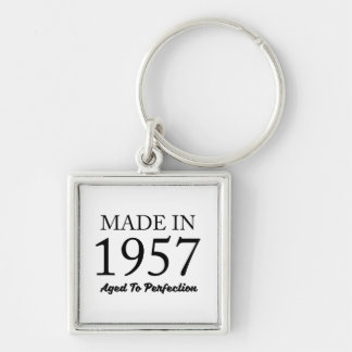 Made In 1957 Silver-Colored Square Keychain