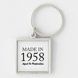 Made In 1958 Silver-Colored Square Keychain