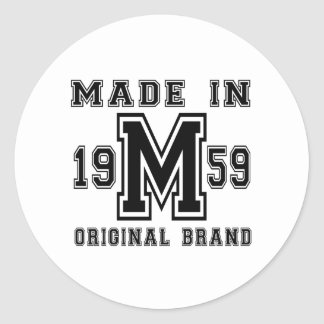 MADE IN 1959 ORIGINAL BRAND BIRTHDAY DESIGNS CLASSIC ROUND STICKER