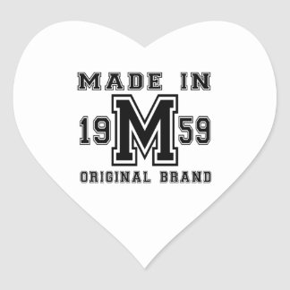 MADE IN 1959 ORIGINAL BRAND BIRTHDAY DESIGNS HEART STICKER