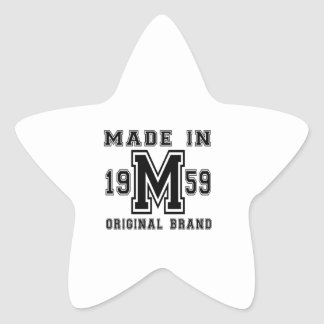 MADE IN 1959 ORIGINAL BRAND BIRTHDAY DESIGNS STAR STICKER