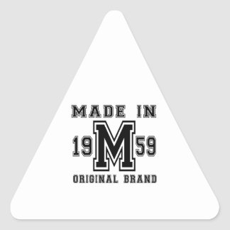 MADE IN 1959 ORIGINAL BRAND BIRTHDAY DESIGNS TRIANGLE STICKER