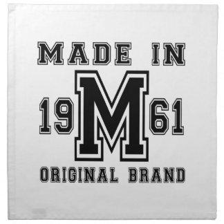 MADE IN 1961 ORIGINAL BRAND BIRTHDAY DESIGNS NAPKIN