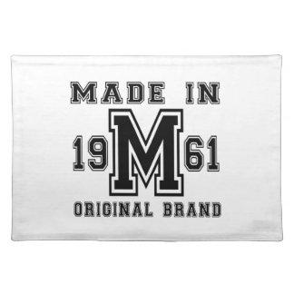 MADE IN 1961 ORIGINAL BRAND BIRTHDAY DESIGNS PLACEMAT