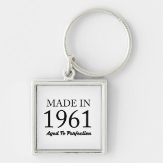Made In 1961 Silver-Colored Square Keychain