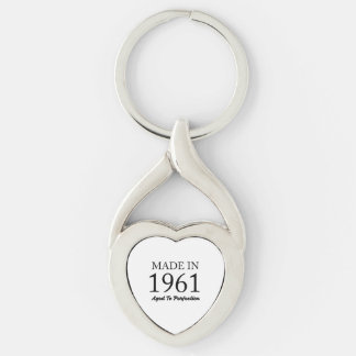 Made In 1961 Silver-Colored Twisted Heart Keychain