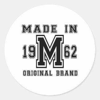 MADE IN 1962 ORIGINAL BRAND BIRTHDAY DESIGNS CLASSIC ROUND STICKER