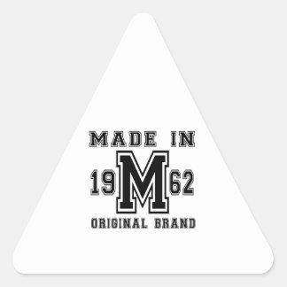 MADE IN 1962 ORIGINAL BRAND BIRTHDAY DESIGNS TRIANGLE STICKER
