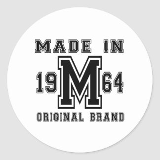 MADE IN 1964 ORIGINAL BRAND BIRTHDAY DESIGNS CLASSIC ROUND STICKER