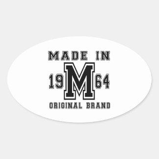 MADE IN 1964 ORIGINAL BRAND BIRTHDAY DESIGNS OVAL STICKER
