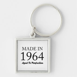 Made In 1964 Silver-Colored Square Keychain