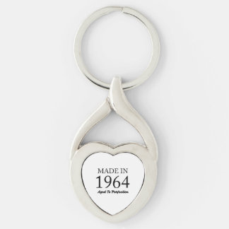 Made In 1964 Silver-Colored Twisted Heart Keychain