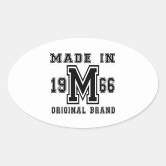 MADE IN 1966 ORIGINAL BRAND BIRTHDAY DESIGNS OVAL STICKER