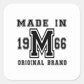 MADE IN 1966 ORIGINAL BRAND BIRTHDAY DESIGNS SQUARE STICKER