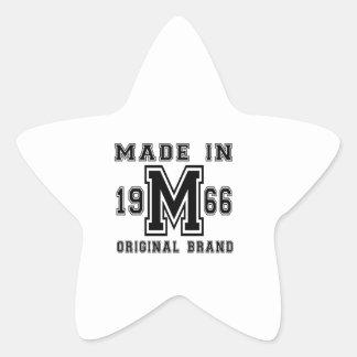 MADE IN 1966 ORIGINAL BRAND BIRTHDAY DESIGNS STAR STICKER