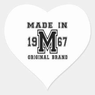 MADE IN 1967 ORIGINAL BRAND BIRTHDAY DESIGNS HEART STICKER