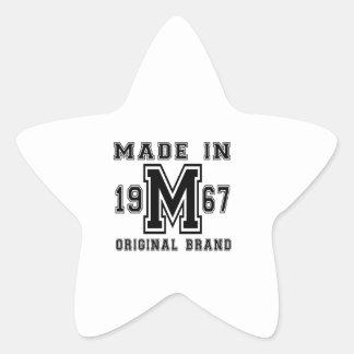 MADE IN 1967 ORIGINAL BRAND BIRTHDAY DESIGNS STAR STICKER