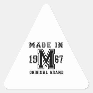 MADE IN 1967 ORIGINAL BRAND BIRTHDAY DESIGNS TRIANGLE STICKER