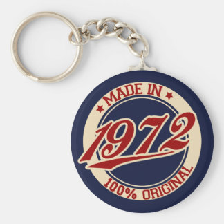 Made In 1972 Basic Round Button Keychain
