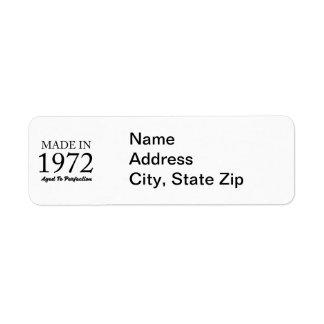 Made In 1972 Return Address Label