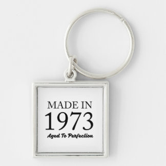 Made In 1973 Silver-Colored Square Keychain