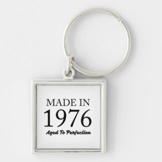 Made In 1976 Silver-Colored Square Keychain