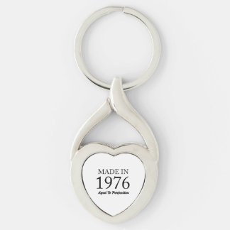 Made In 1976 Silver-Colored Twisted Heart Keychain