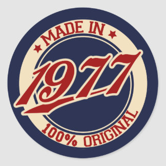 Made In 1977 Round Sticker