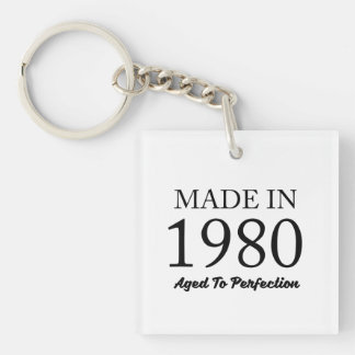 Made In 1980 Double-Sided Square Acrylic Keychain