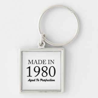 Made In 1980 Silver-Colored Square Keychain
