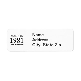 Made In 1981 Return Address Label