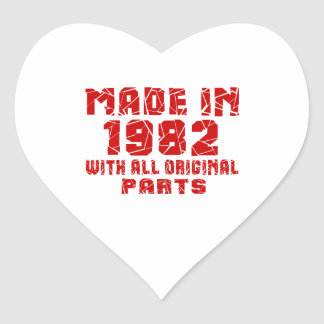 Made In 1982 With All Original Parts Heart Sticker