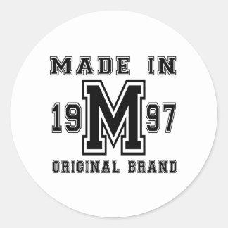 MADE IN 1997 ORIGINAL BRAND BIRTHDAY DESIGNS CLASSIC ROUND STICKER