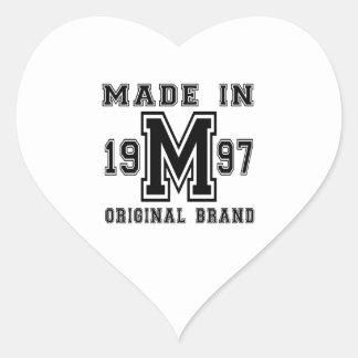 MADE IN 1997 ORIGINAL BRAND BIRTHDAY DESIGNS HEART STICKER