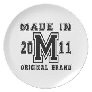 MADE IN 2011 ORIGINAL BRAND BIRTHDAY DESIGNS PLATE