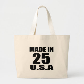 MADE IN 25 U.S.A BIRTHDAY DESIGNS LARGE TOTE BAG
