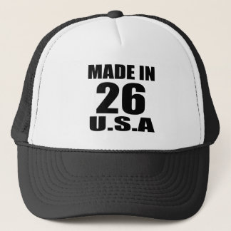 MADE IN 26 U.S.A BIRTHDAY DESIGNS TRUCKER HAT