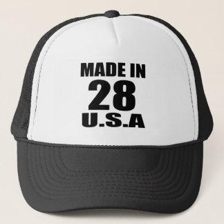 MADE IN 28 U.S.A BIRTHDAY DESIGNS TRUCKER HAT