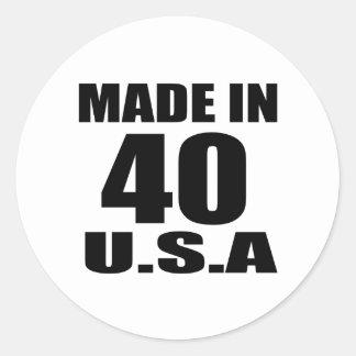 MADE IN 40 U.S.A BIRTHDAY DESIGNS CLASSIC ROUND STICKER