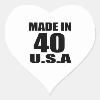MADE IN 40 U.S.A BIRTHDAY DESIGNS HEART STICKER