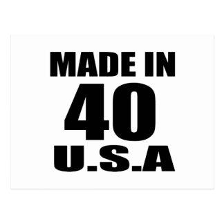 MADE IN 40 U.S.A BIRTHDAY DESIGNS POSTCARD
