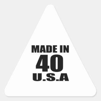 MADE IN 40 U.S.A BIRTHDAY DESIGNS TRIANGLE STICKER