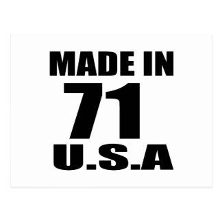 MADE IN 71 U.S.A BIRTHDAY DESIGNS POSTCARD