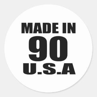 MADE IN 90 U.S.A BIRTHDAY DESIGNS CLASSIC ROUND STICKER