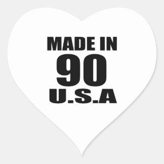 MADE IN 90 U.S.A BIRTHDAY DESIGNS HEART STICKER