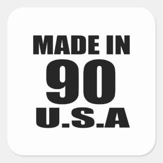 MADE IN 90 U.S.A BIRTHDAY DESIGNS SQUARE STICKER