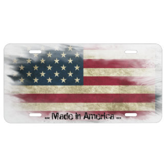 Made in America, distressed USA Flag License Plate