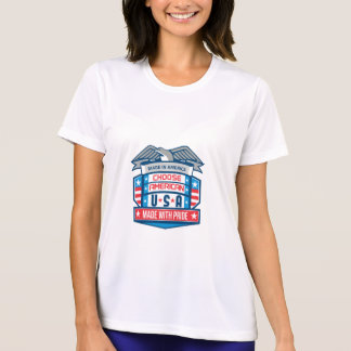 Made In America Patriotic Shield Retro T-Shirt